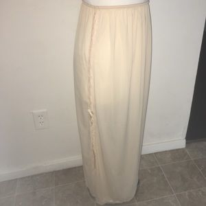 Vintage Vanity Fair Beige Maxi Slip Skirt Med